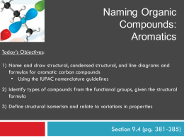 Naming Organic Compounds: Aromatics