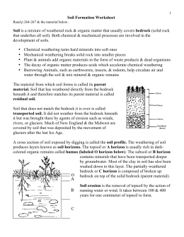 Soil Formation Worksheet Soil is a mixture of weathered rock