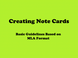 Creating Note Cards