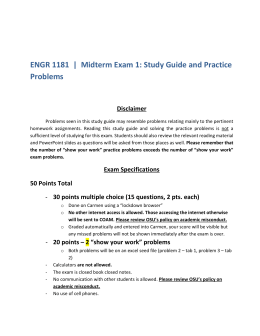 ENGR 1181 | Midterm Exam 1: Study Guide and