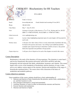 CHEM 855 –Biochemistry for HS Teachers