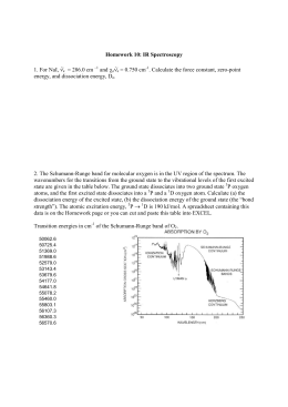 Homework 10: IR Spectroscopy 1. For NaI, νe ~ = 286.0 cm –1 and
