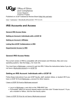 iRIS Accounts and Access - Human Research Protection Program