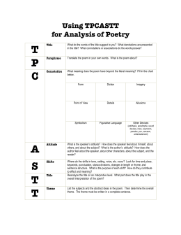 Using TPCASTT for Analysis of Poetry