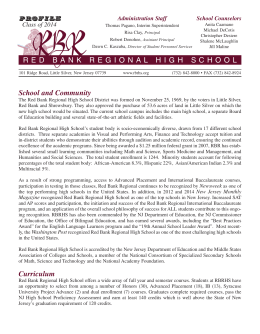 School and Community Curriculum RED BANK REGIONAL HIGH