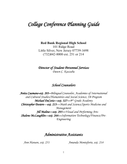 College Conference Planning Guide Red Bank Regional High School