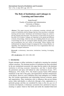 The Role of Institutions and Linkages in Learning and Innovation