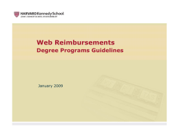 Web Reimbursements - Harvard Kennedy School