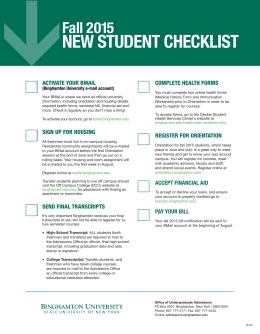 new student checklist - Binghamton University