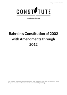Bahrain`s Constitution of 2002 with Amendments through