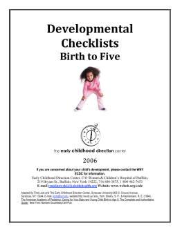 Developmental Checklists - Preschool Learning Center