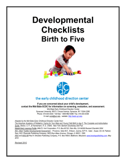 Developmental Checklists - Early Childhood Direction Center