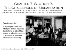 Chapter 7, Section 2: The Challenges of Urbanization