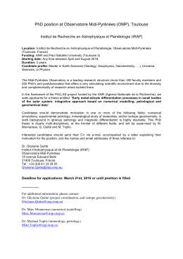 PhD position at Observatoire Midi