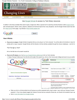 Use Google Scholar to access Ivy Tech library resources Page 1 of 3