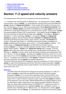 Section 11.2 speed and velocity answers