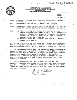 letter discussing the unearthed 55 gallon drum of ddt and 4 55