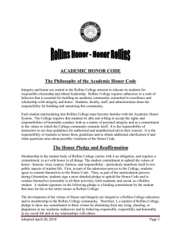 View Rollins Academic Honor Code