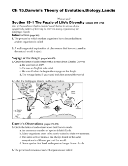 Section 15–1 The Puzzle of Life`s Diversity (pages
