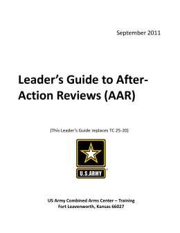 Leader`s Guide to After- Action Reviews (AAR)