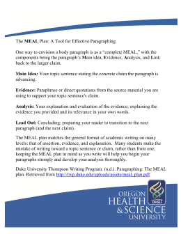 The MEAL Plan: A Tool for Effective Paragraphing One way to