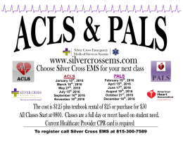 Silver Cross EMS System 2016 ACLS and PALS Flyer