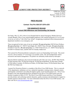 Press Release - July 21, 2015 - Lemont Fire Protection District