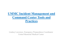 UMMC Incident Management and Command Center Tools and