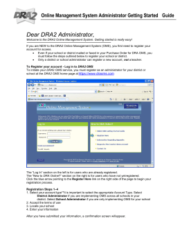 Dear DRA2 Administrator - DRA Online Management System