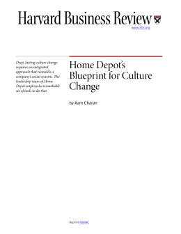 Home Depot`s Blueprint for Culture Change