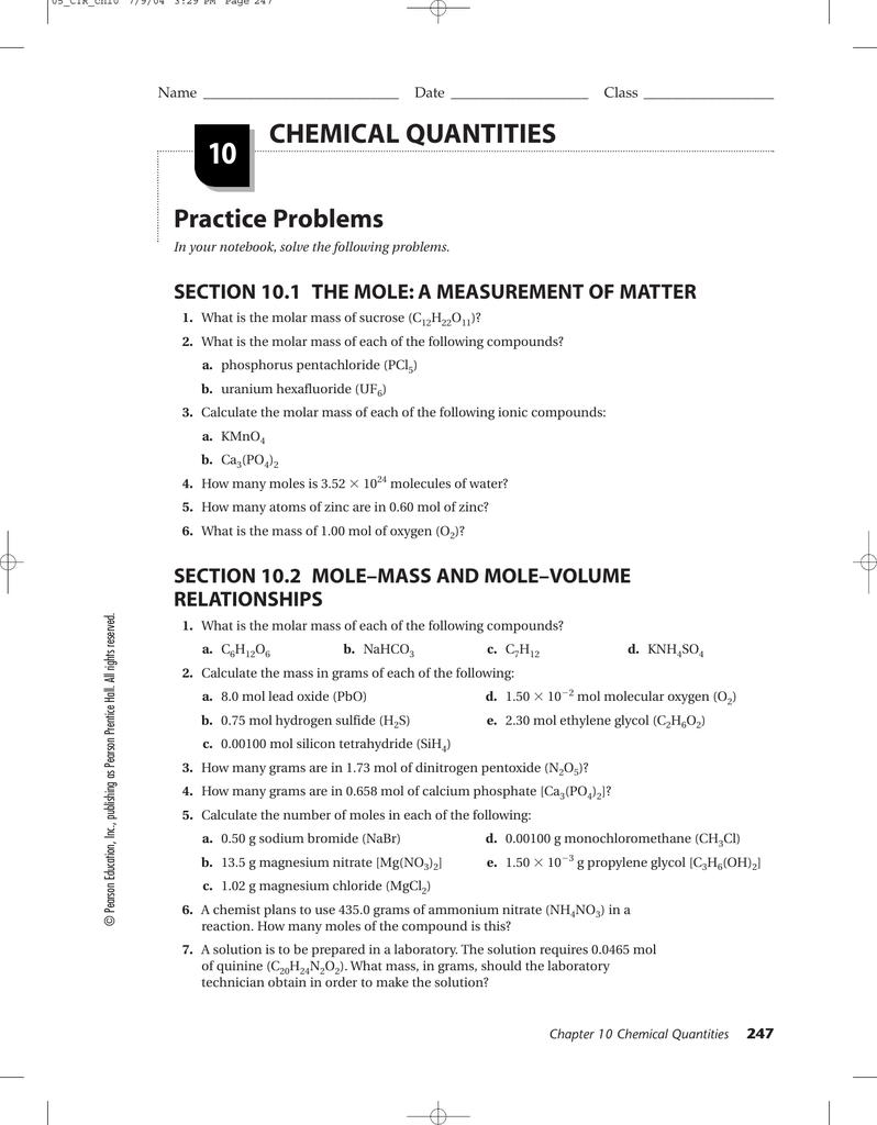 Prentice Hall Chemistry Worksheets
