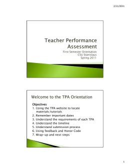 Objectives 1. Using the TPA website to locate materials/tutorials 2