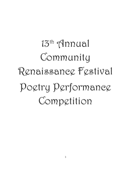 13th Annual Community Renaissance Festival Poetry Performance