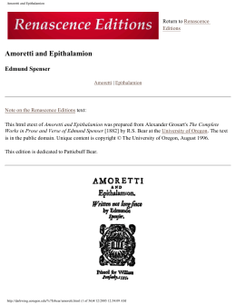 Amoretti and Epithalamion - Scholars` Bank
