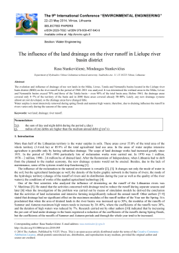 The influence of the land drainage on the river runoff in Lielupe river