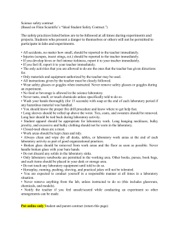 "Science safety contract (Based on Flinn Scientific`s ""Ideal Student"