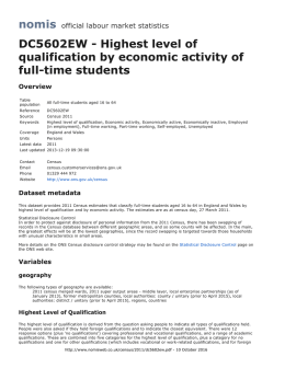 DC5602EW - Highest level of qualification by economic activity of
