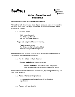 Verbs - Transitive and Intransitive