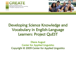 Developing Science Knowledge and Vocabulary in English