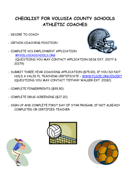 checklist for volusia county schools athletic coaches