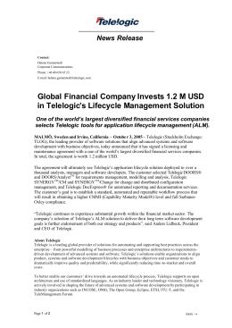 Global Financial Company Invests 1.2 M USD in Telelogic`s