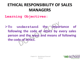 ETHICAL RESPONSIBILITY OF SALES MANAGERS