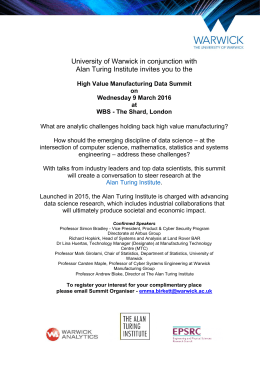 University of Warwick in conjunction with Alan Turing Institute invites