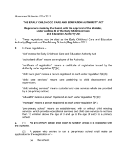 Regulations 2011 - Early Childhood Care and Education Authority
