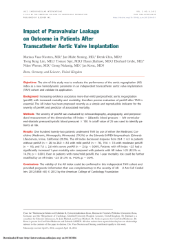 Impact of Paravalvular Leakage on Outcome in Patients After
