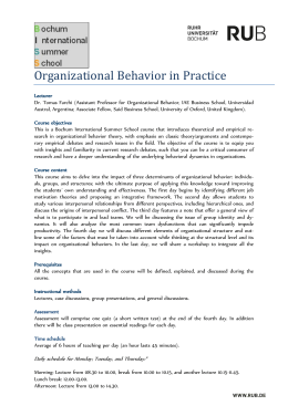 Organizational Behavior in Practice