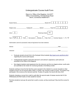 Undergraduate Course Audit Form