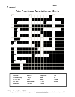 Ratio, Proportion and Percents Crossword Puzzle