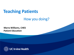 Teaching Patients - the UC Irvine Health Home Page