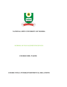 Inter Governmental Relations - National Open University of Nigeria